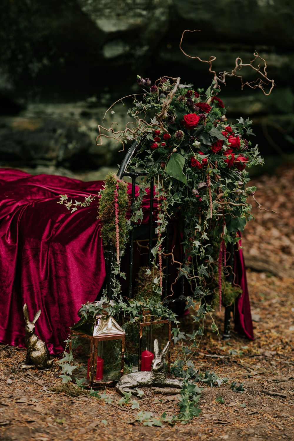 Bed Flowers Floral Greenery Red Rose Ivy Amaranthus Candles Snow White Wedding Inspiration Joasis Photography