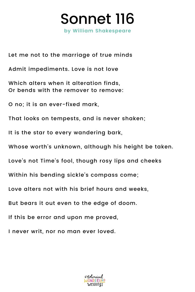 Wedding Readings – Sonnet 116 by William Shakespeare