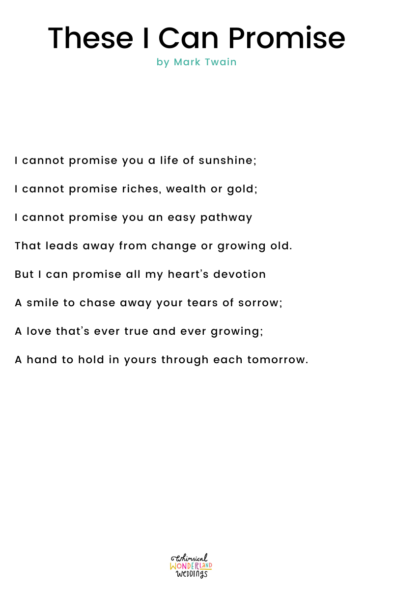 Wedding Readings – These I Can Promise by Mark Twain
