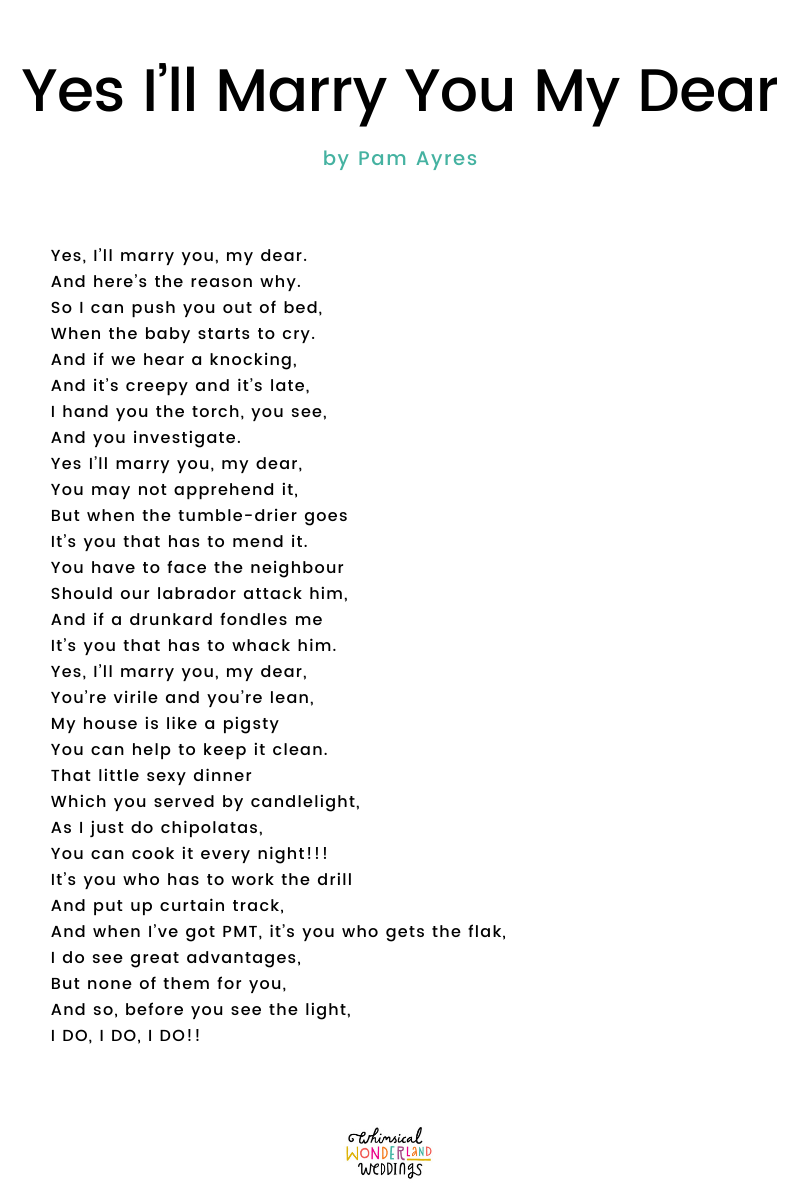 Wedding Readings – Yes I'll Marry You My Dear by Pam Ayres