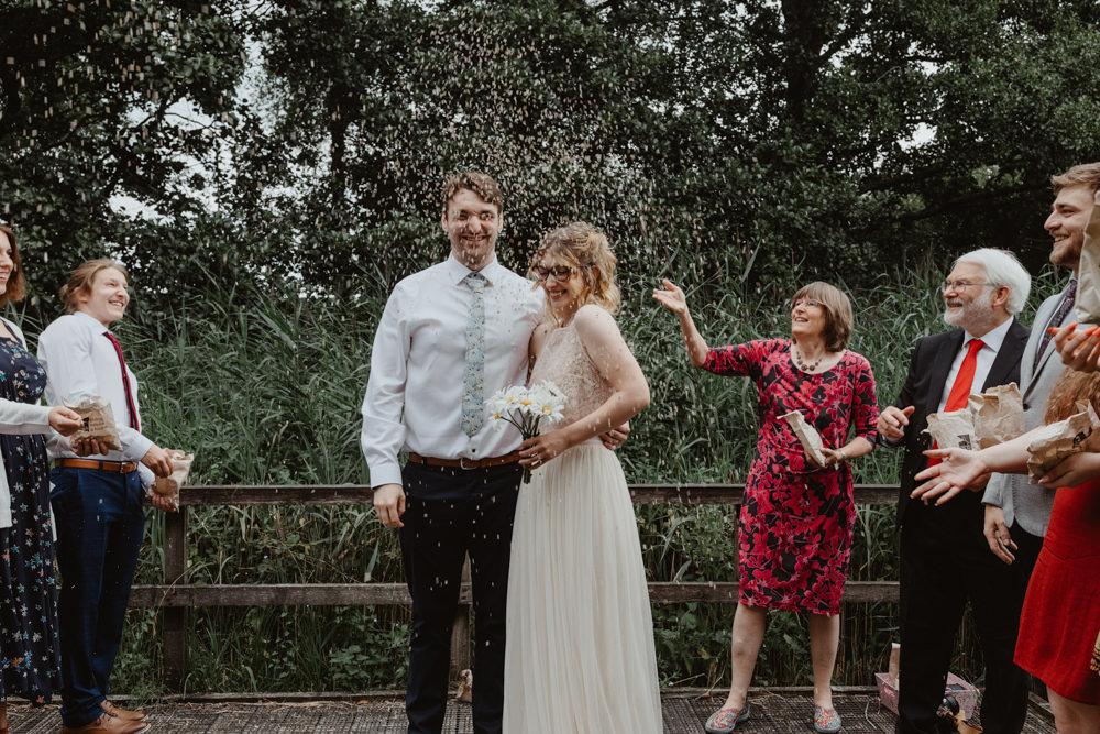 Confetti Throw Bird Hide Wedding Stevie Jay Photography