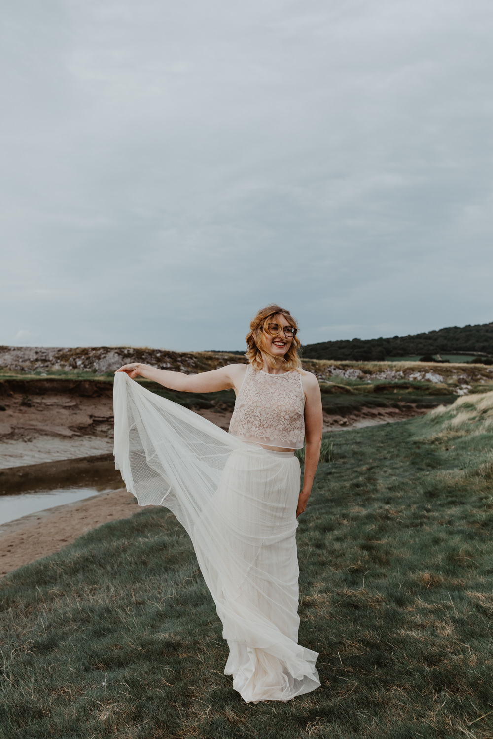 Dress Gown Bride Bridal Tulle Skirt Crop Top Lace Bird Hide Wedding Stevie Jay Photography
