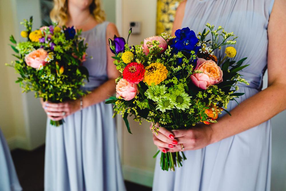 Bouquet Flowers Bride Bridal Colourful Bright Daisy Rose Birtsmorton Court Wedding The Dignums
