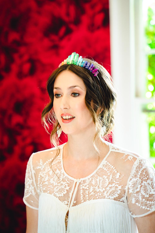 Bride Bridal Make Up Hair Rainbow Crystal Crown Tiara Birtsmorton Court Wedding The Dignums