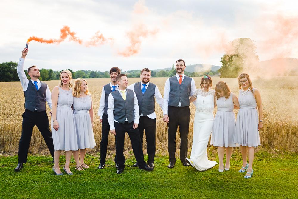 Birtsmorton Court Wedding The Dignums Smoke Bomb Photos Portraits Photographs
