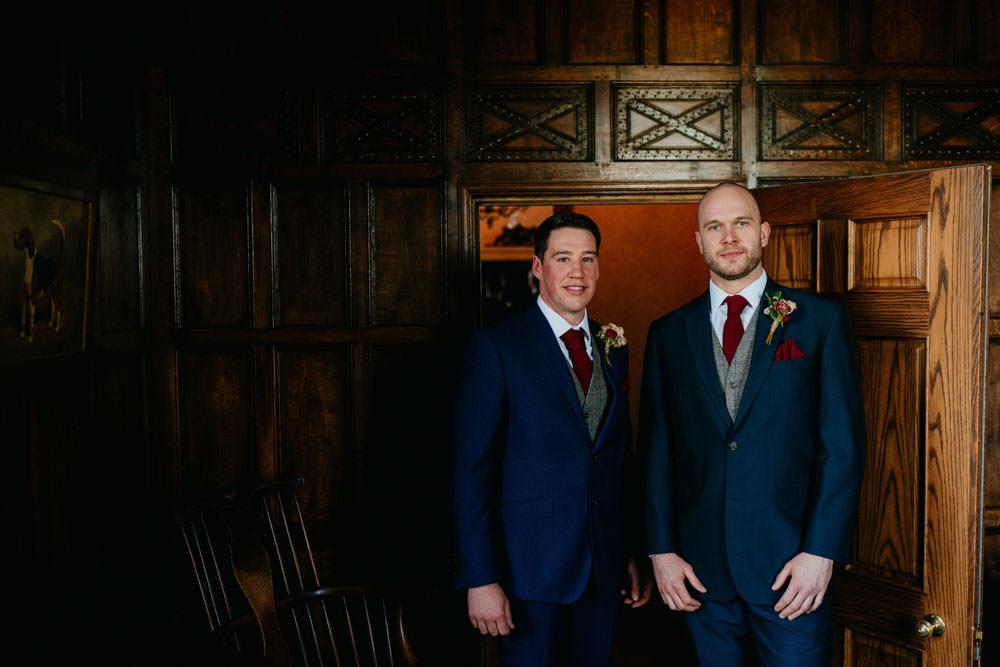 Groom Groomsmen Suits Navy Waistcoat Burgundy Barn Wedding Jarek Lepak