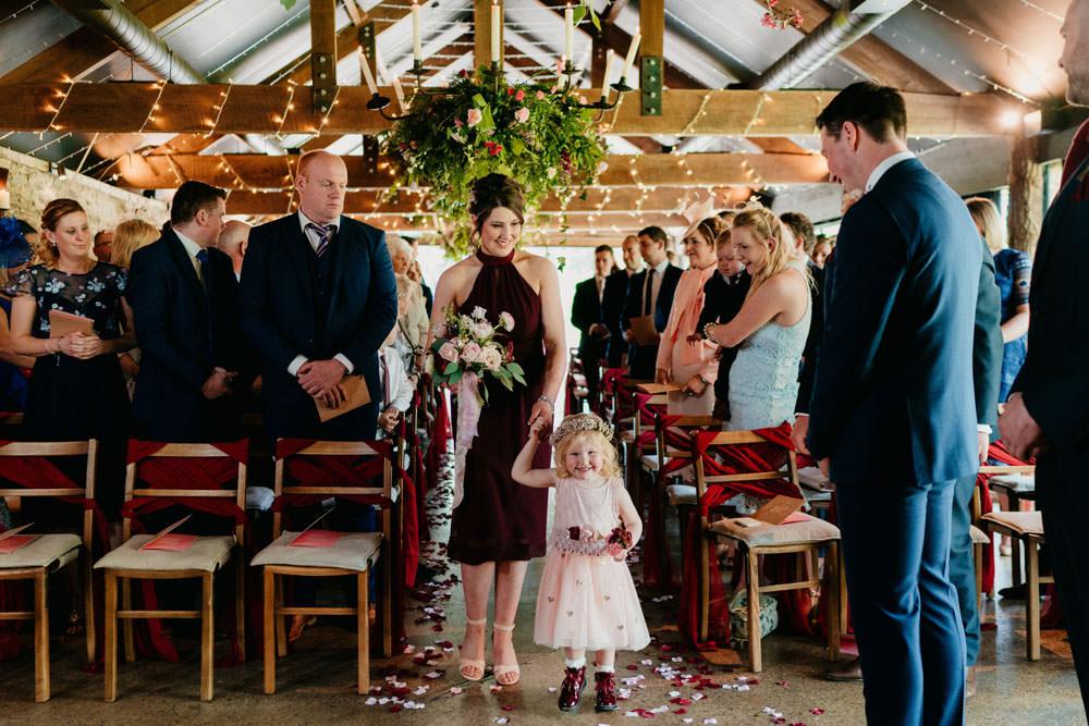 Flower Girl Burgundy Barn Wedding Jarek Lepak