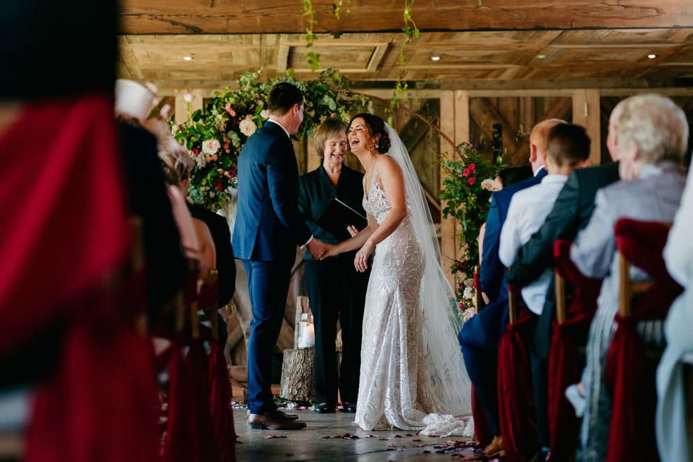 Moon Gate Flower Arch Half Moon Backdrop Ceremony Aisle Burgundy Barn Wedding Jarek Lepak