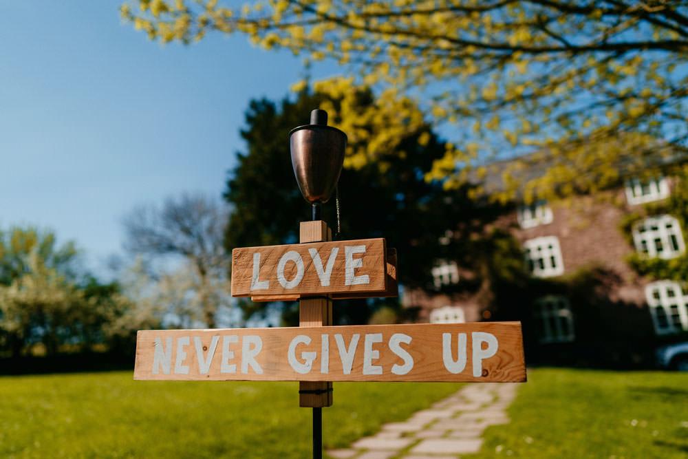 Wooden Sign Love Quote Signs Signage Burgundy Barn Wedding Jarek Lepak