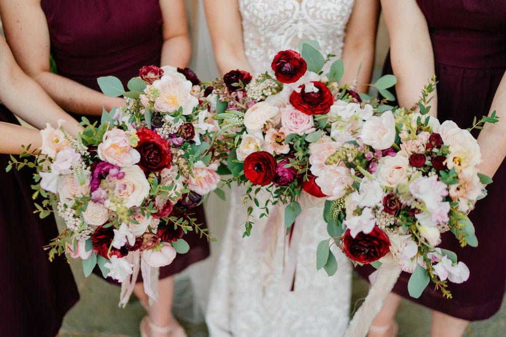 Bouquet Flowers Bride Bridal Bridesmaid Blush RIbbon Rose Burgundy Barn Wedding Jarek Lepak