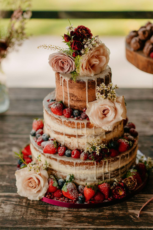 Naked Cake Sponge Icing Drip Flowers Berries Burgundy Barn Wedding Jarek Lepak