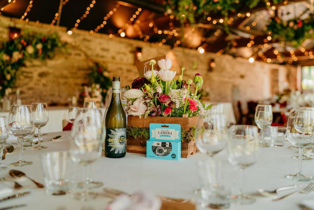 Crate Box Flowers Centrepiece Decor Burgundy Barn Wedding Jarek Lepak