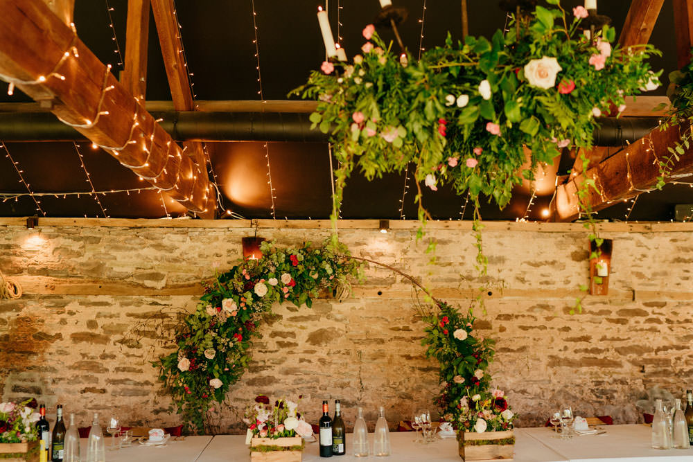 Moon Gate Flower Arch Half Moon Backdrop Top Table Burgundy Barn Wedding Jarek Lepak