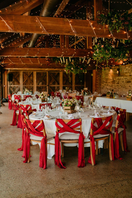 Chair Covers Sashes Fairy Lights Burgundy Barn Wedding Jarek Lepak