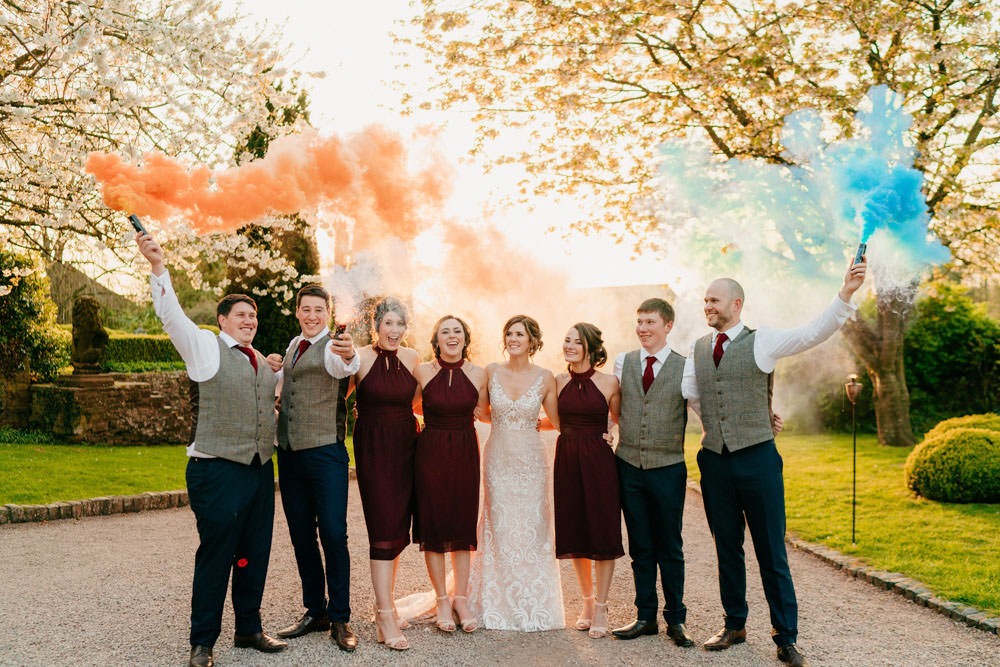 Smoke Bombs Burgundy Barn Wedding Jarek Lepak