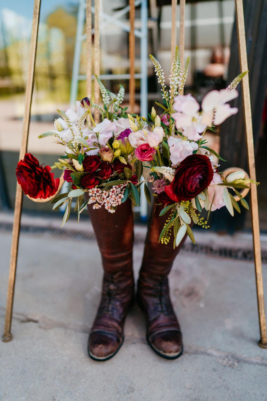 Wellies Welly Boot Flowers Burgundy Barn Wedding Jarek Lepak