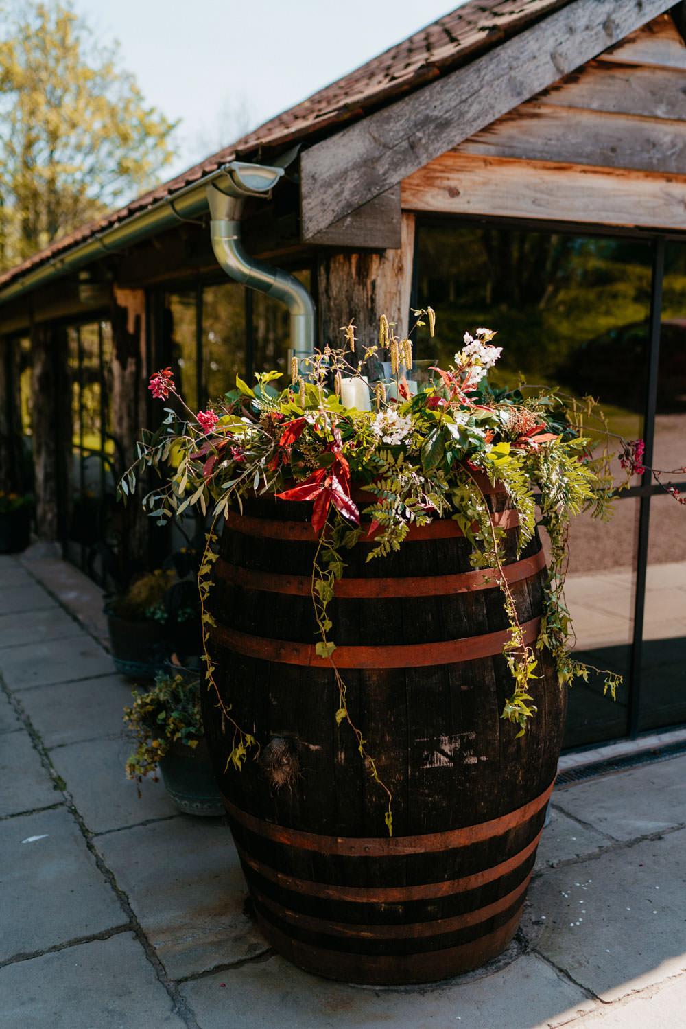 Barrel Flowers Greenery Burgundy Barn Wedding Jarek Lepak