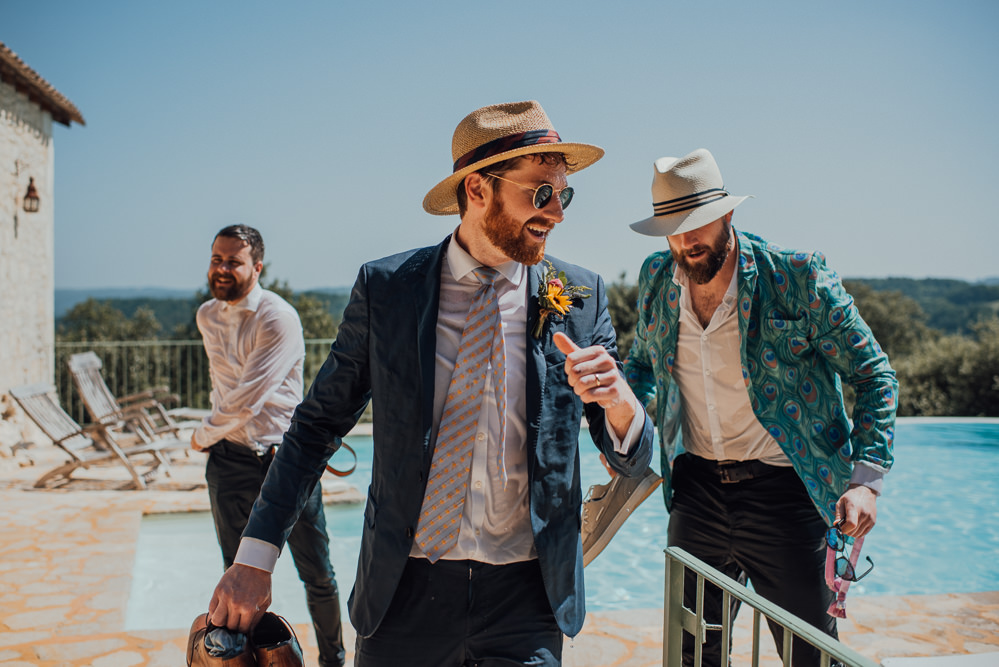 Groom Groomemen Suits Hats Waistcoats Chateau de Lacoste Wedding The Shannons Photography