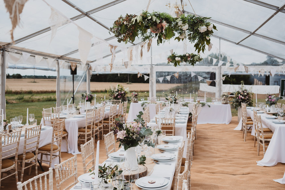 Venue Greenery Hoop Decor Long Tables Clear Marquee Wedding Sarah Brookes Photography