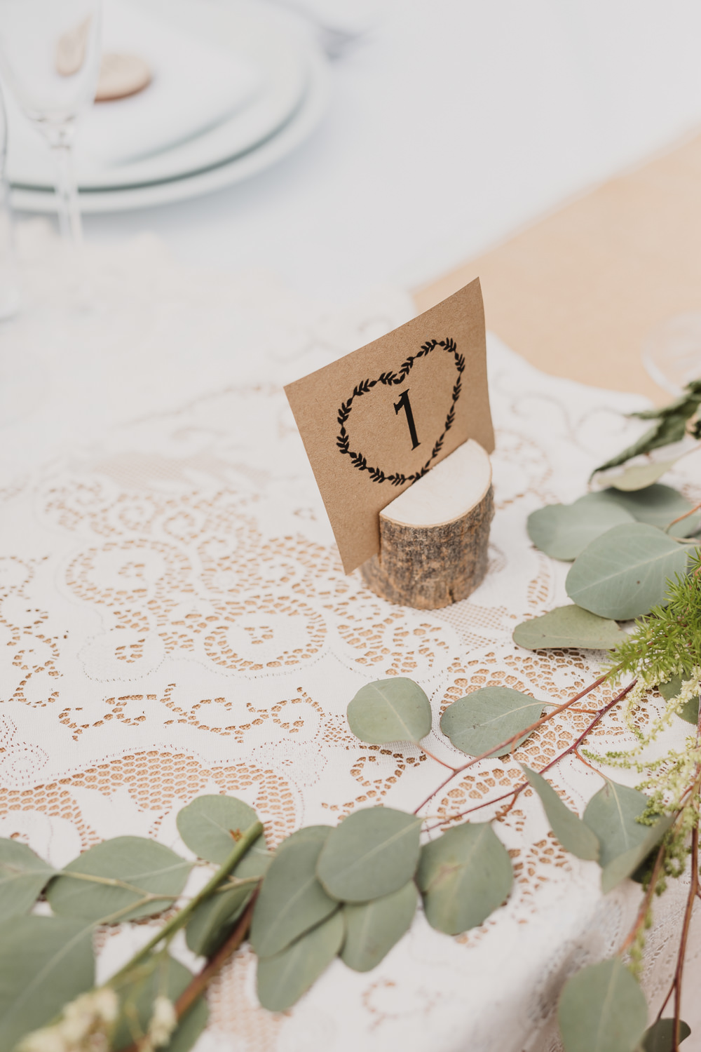 Log Slice Table Number Clear Marquee Wedding Sarah Brookes Photography