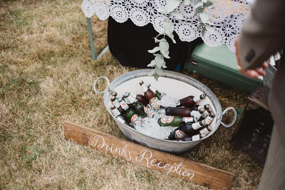 Drinks Tin Bath Clear Marquee Wedding Sarah Brookes Photography
