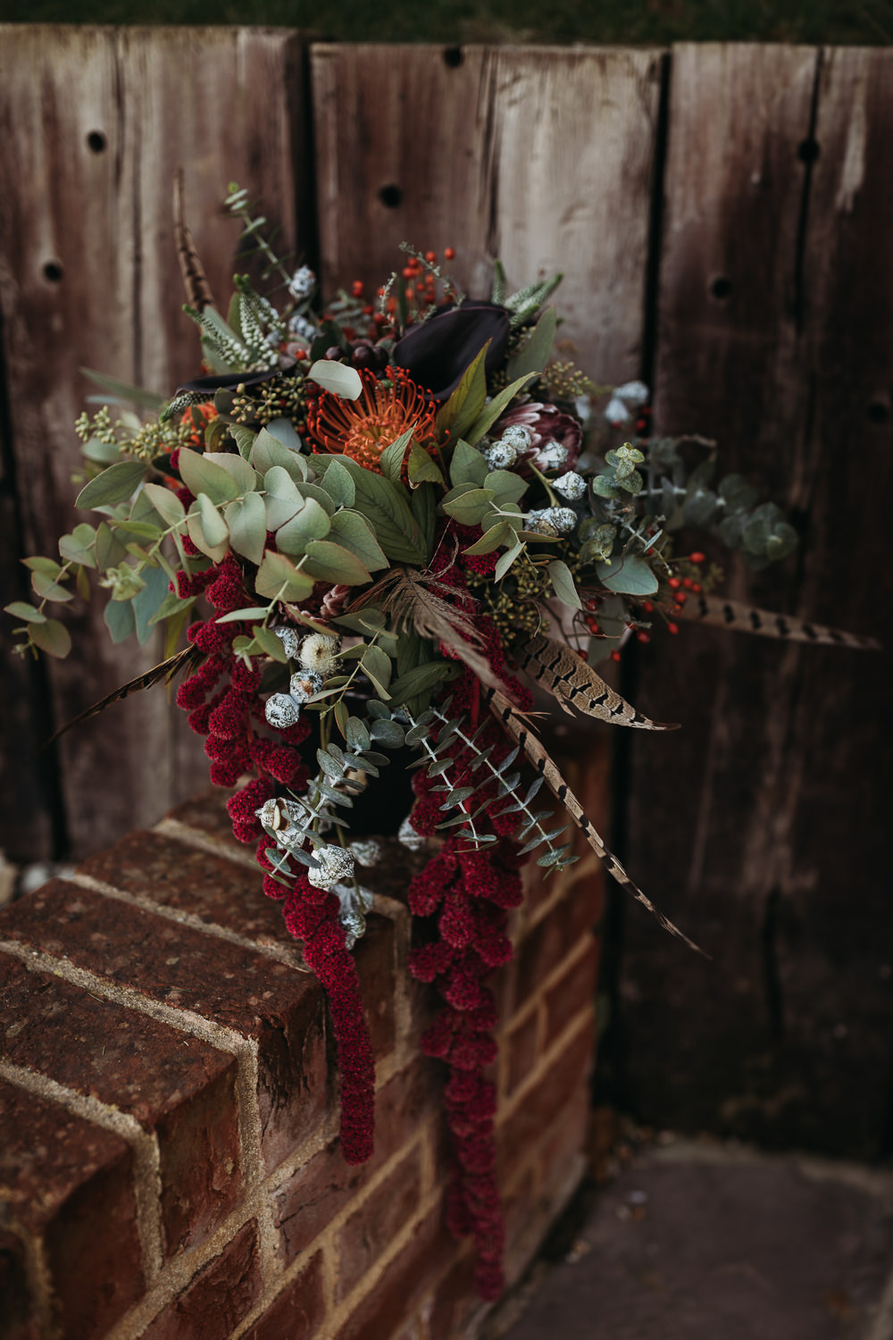 Bouquet Flowers Bride Bridal Feather Euclyptus Amaranthus Red Berries Pincushion Cooling Castle Barn Wedding Thyme Lane Photography