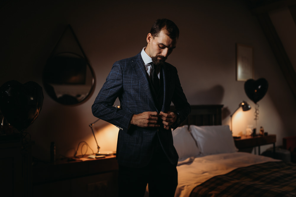 Groom Suit Check Jacket Cooling Castle Barn Wedding Thyme Lane Photography