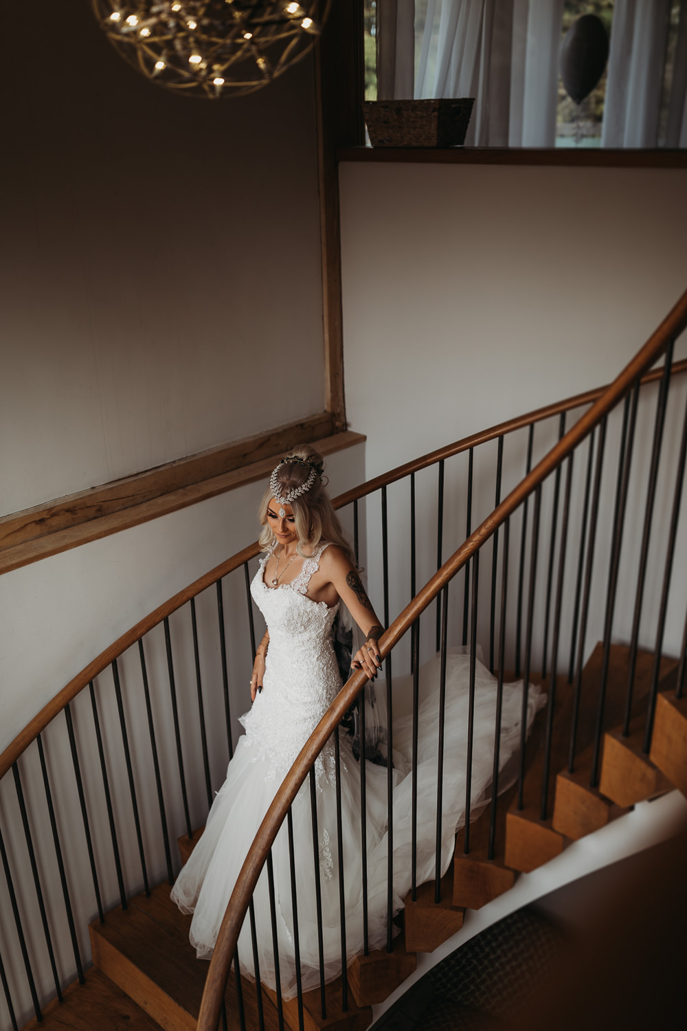 Bride Bridal Dress Gown Mermaid Train Lace Cooling Castle Barn Wedding Thyme Lane Photography