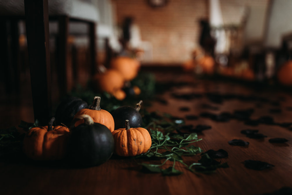 Aisle Ceremony Pumpkins Halloween Cooling Castle Barn Wedding Thyme Lane Photography