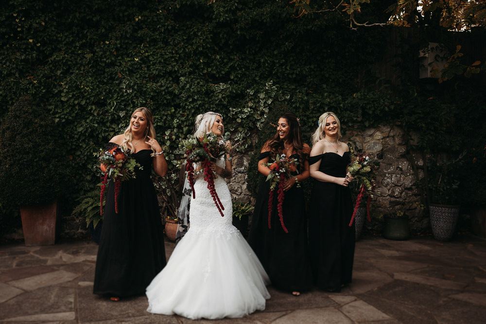 Bridesmaids Bridesmaid Dress Dresses Black Chiffon Cooling Castle Barn Wedding Thyme Lane Photography