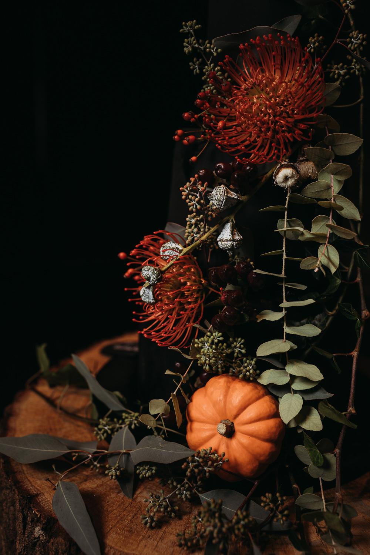 Black Cake Eucalyptus Pincushion Log Slice Topper Pumpkin Cooling Castle Barn Wedding Thyme Lane Photography