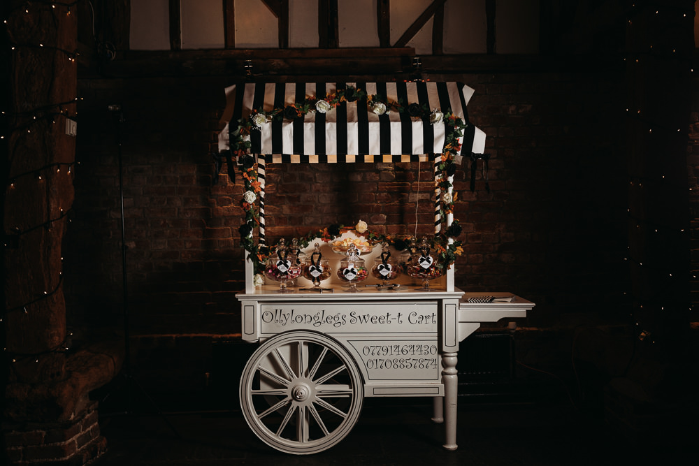 Sweets Sweetie Cart Cooling Castle Barn Wedding Thyme Lane Photography