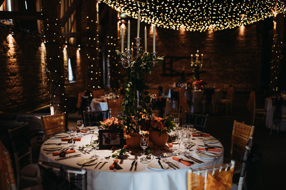 Halloween Autumn Centrepiece Candlabra Pumpkins Flowers Decor Table Cooling Castle Barn Wedding Thyme Lane Photography