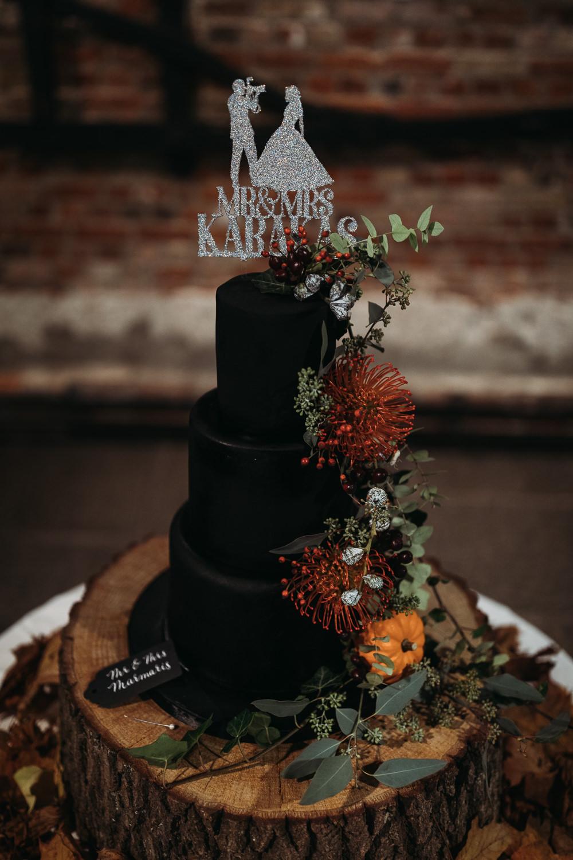 Black Cake Eucalyptus Pincushion Log Slice Topper Cooling Castle Barn Wedding Thyme Lane Photography