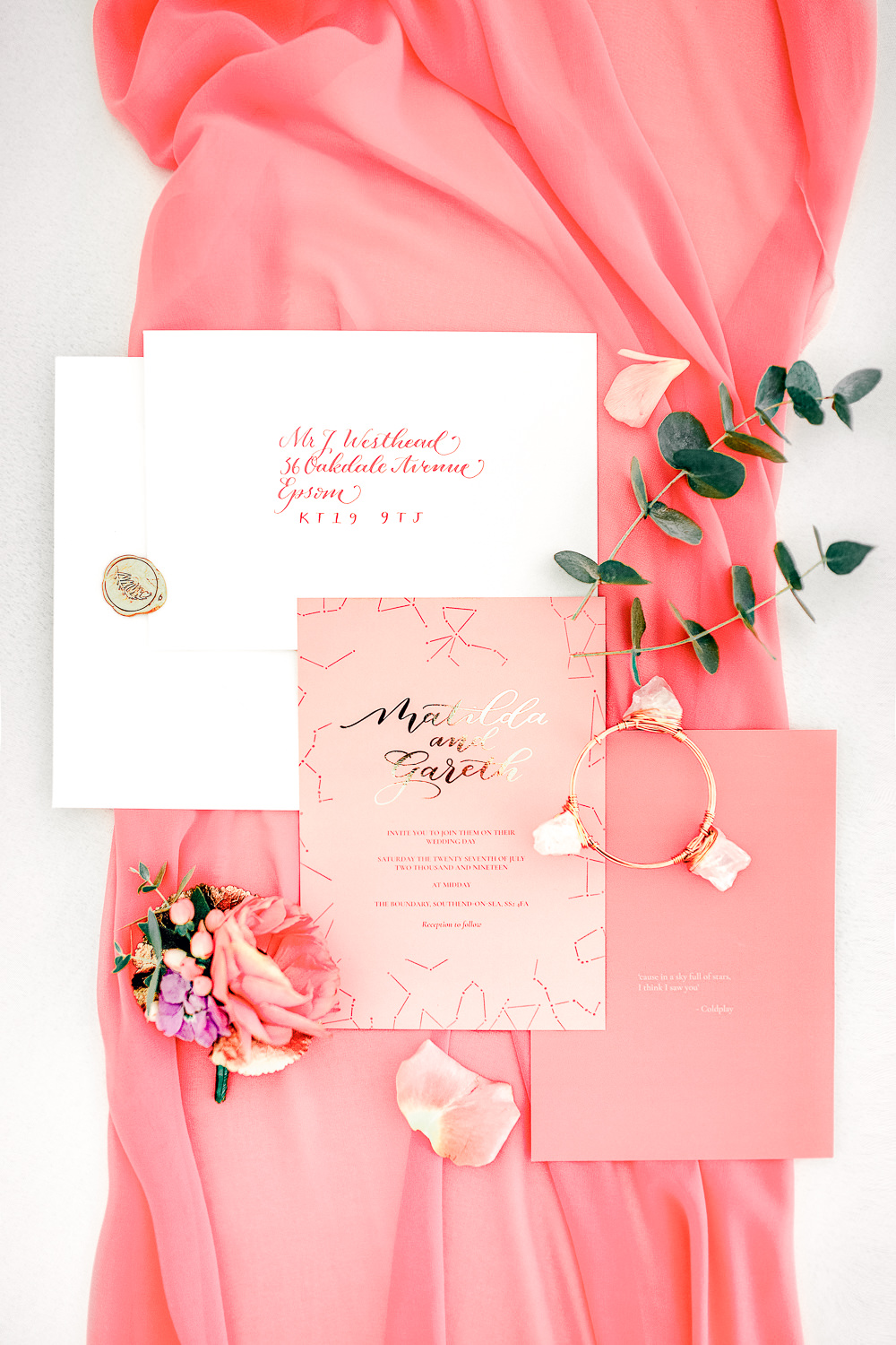 Stationery Invite Invitations Flat Lay Gold Calligraphy Coral Peach Wedding Ideas Courtney Dee Photography