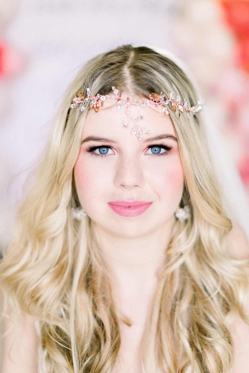 Bride Bridal Make Up Headdress Accessory Coral Peach Wedding Ideas Courtney Dee Photography