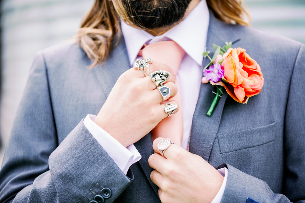 Groom Suit Blue Tie Buttonhole Flowers Coral Peach Wedding Ideas Courtney Dee Photography