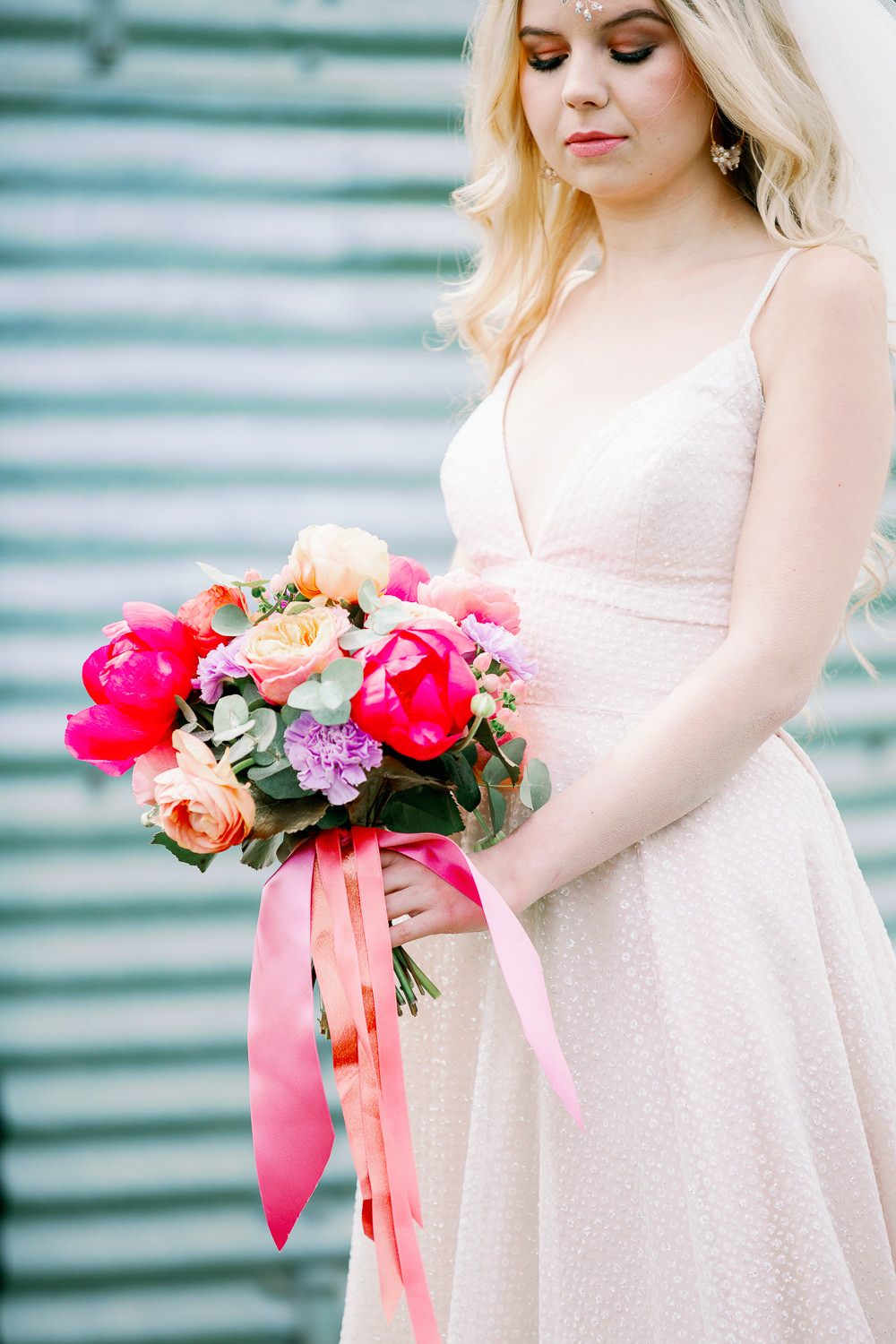 Bouquet Flowers Bride Bridal Peony Peonies Rose Ribbon Coral Peach Wedding Ideas Courtney Dee Photography