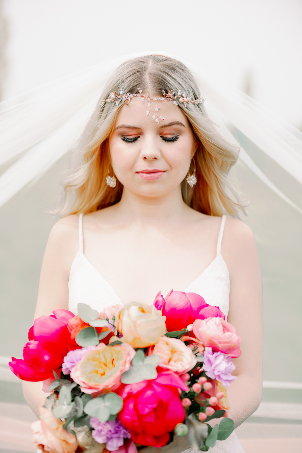 Bouquet Flowers Bride Bridal Peony Peonies Rose Ribbon Bride Bridal Make Up Headdress Accessory Veil Coral Peach Wedding Ideas Courtney Dee Photography