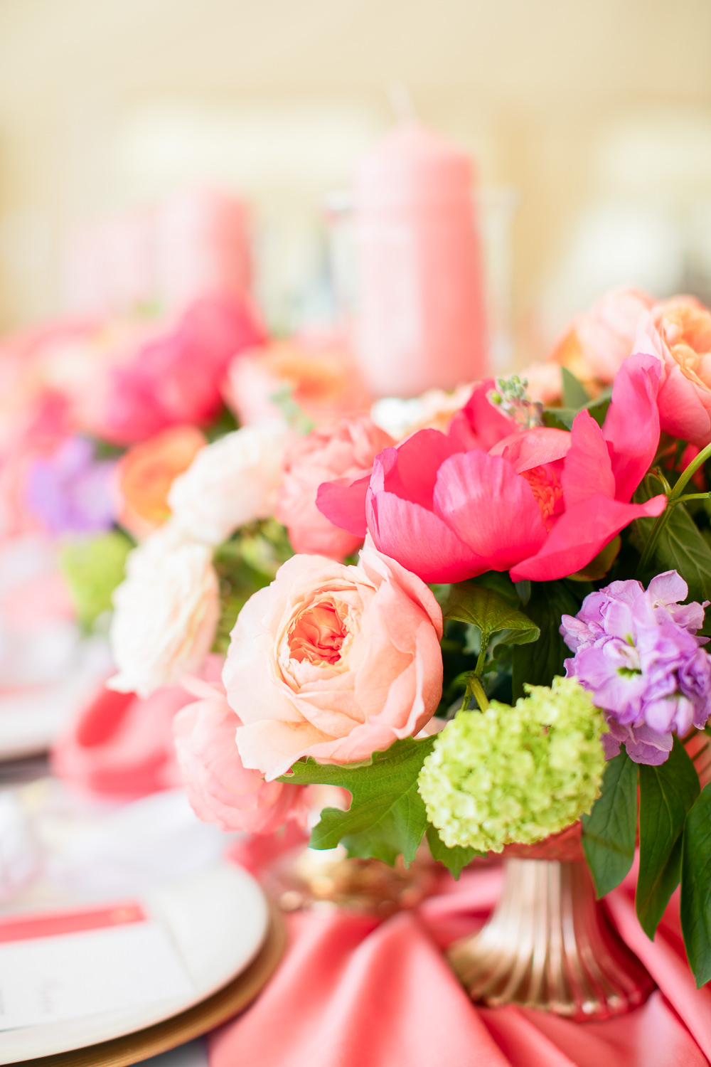 Flowers Peony Peonies Rose Vase Table Centrpiece Coral Peach Wedding Ideas Courtney Dee Photography