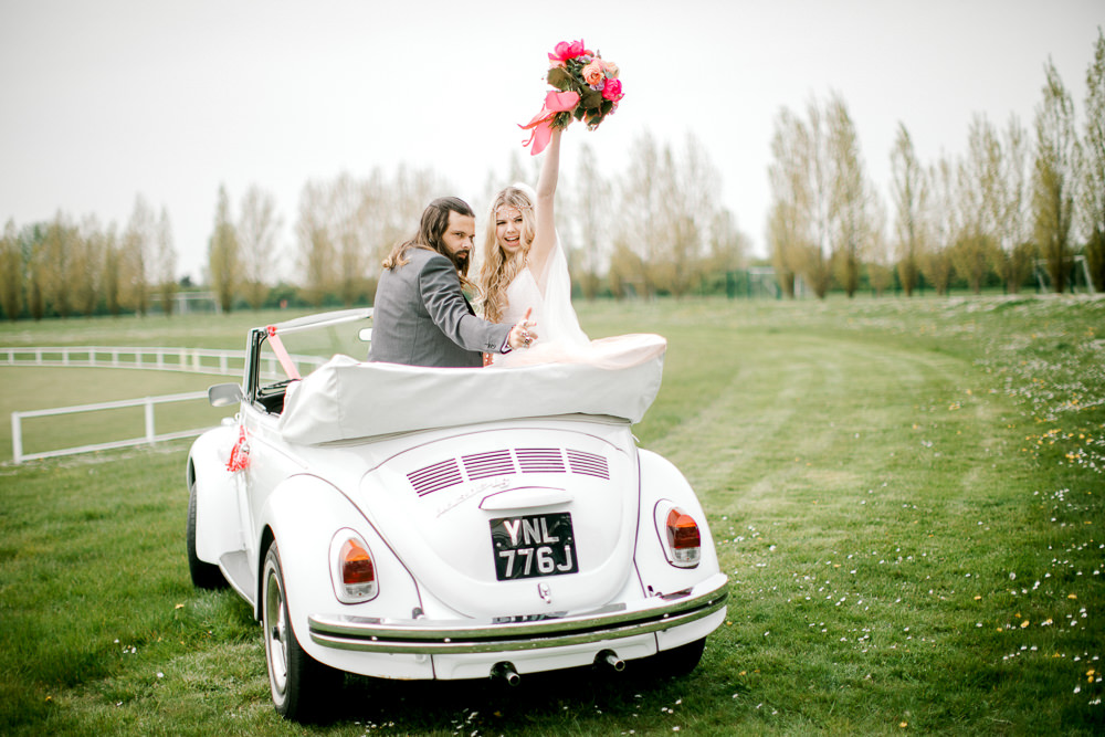 VW Beetle Car Transport Coral Peach Wedding Ideas Courtney Dee Photography