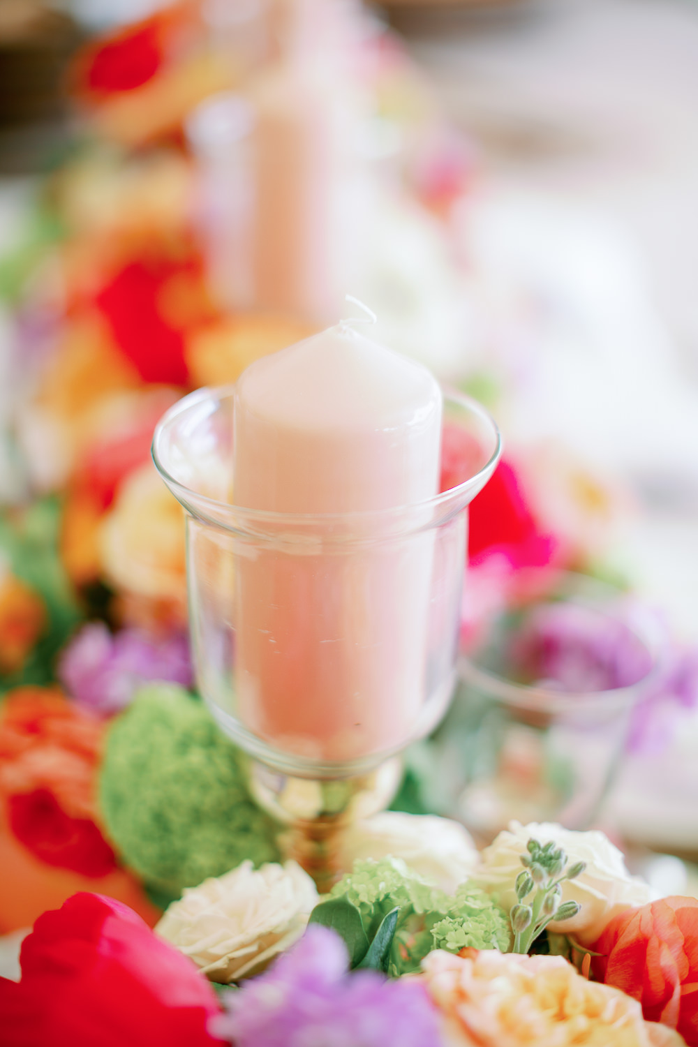 Pillar Candle Glass Holder Table Decor Coral Peach Wedding Ideas Courtney Dee Photography
