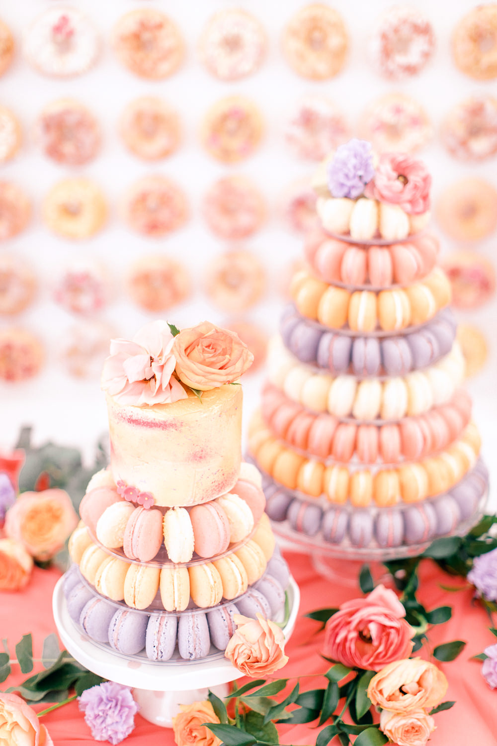Macaron Tower Cake Pastel Coral Peach Wedding Ideas Courtney Dee Photography