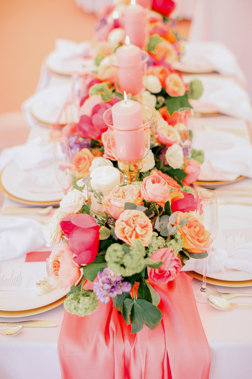 Flowers Peony Peonies Rose Vase Table Centrpiece Candles Coral Peach Wedding Ideas Courtney Dee Photography