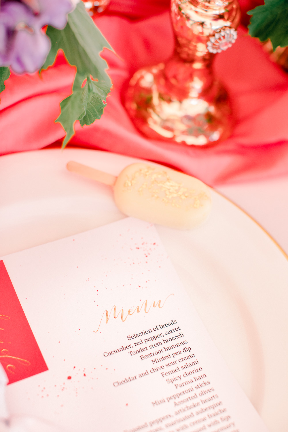 Place Setting Decor Plate Lolly Favour Napkin Menu Coral Peach Wedding Ideas Courtney Dee Photography
