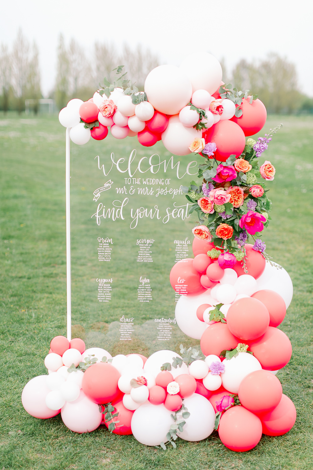 Clear Glass Acrylic Perspex Table Plan Seating Chart Calligraphy Flowers Balloons Coral Peach Wedding Ideas Courtney Dee Photography