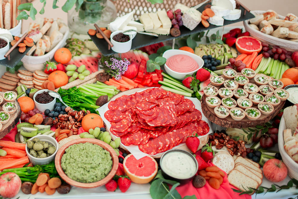 Food Grazing Table Sharing Platter Coral Peach Wedding Ideas Courtney Dee Photography