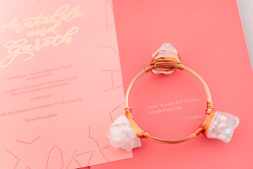 Crystal Bracelet Coral Peach Wedding Ideas Courtney Dee Photography