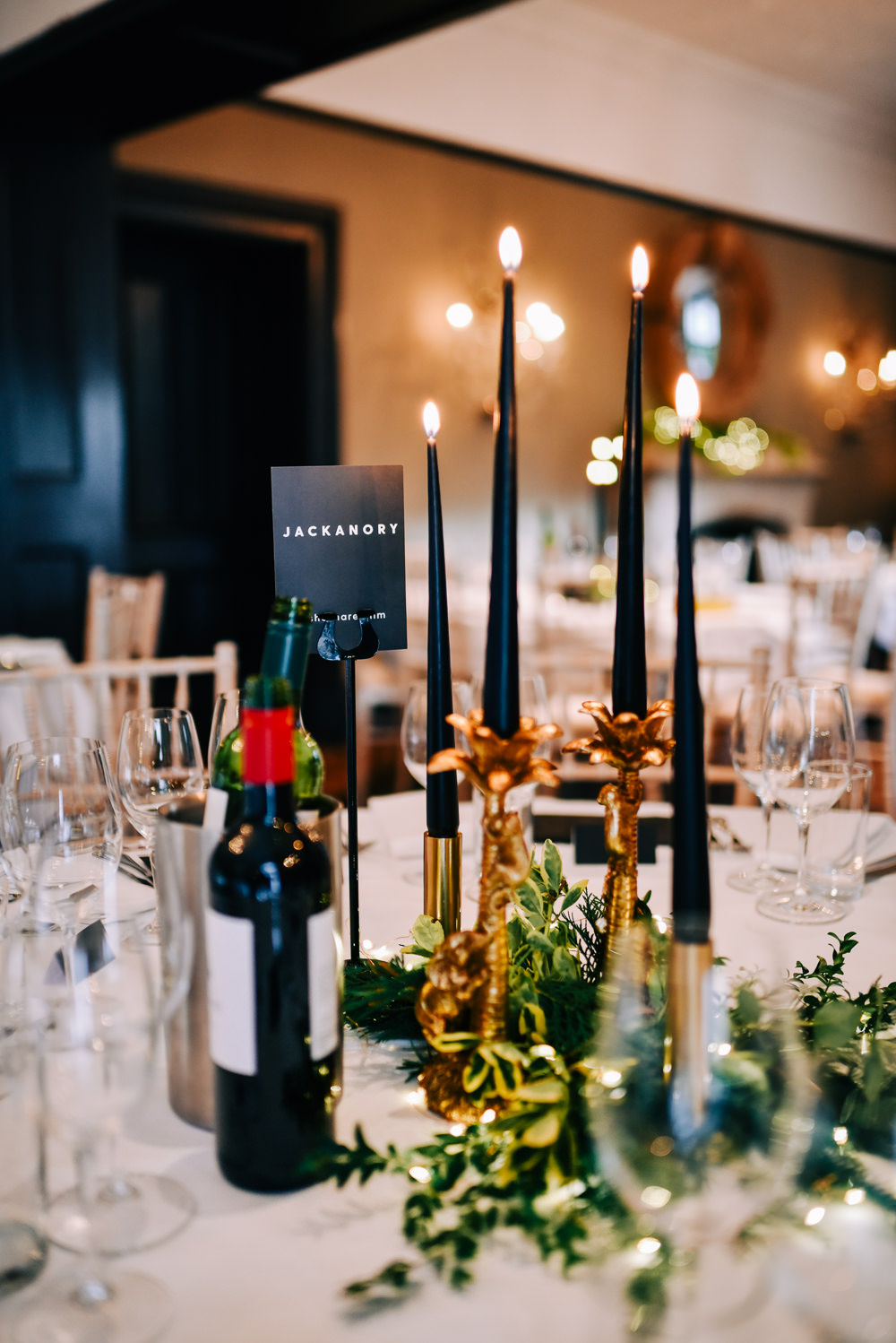 Centepiece Quirky Candle Sticks Greenery Foliage Glazebrook House Wedding Harriet Bird Photography