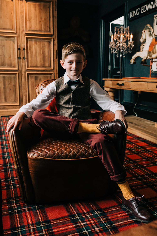 Page Boy Suit Tweed Bow Tie Glazebrook House Wedding Harriet Bird Photography